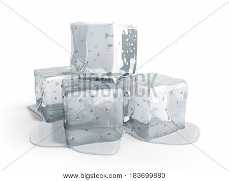 Ice Cubes 3D Render On White Background