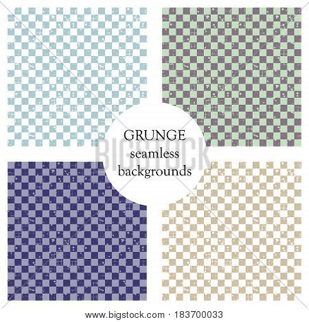 Set Of Seamless Vector Patterns. Geometric Checkered Backgrounds With Squares. Grunge Texture With A