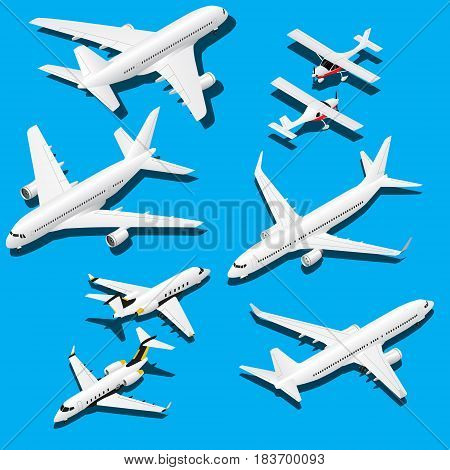 Isometric planes set. Private jet, 2 reactive passenger planes and small plane with propeller