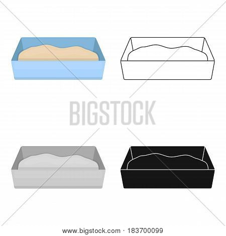 Litter box icon in cartoon style isolated on white background. Cat symbol vector illustration.