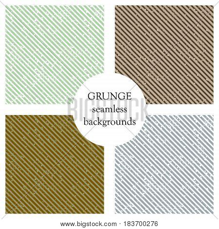 Set Of Seamless Vector Patterns. Geometric Striped Backgrounds With Diagonal Lines. Grunge Texture W