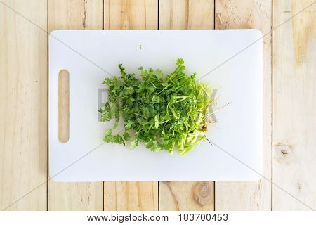 Coriander chopped on a chopping block.  Vegetable