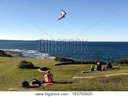 People watching a paraglider at Long Reef Headland (Sydney NSW Australia)