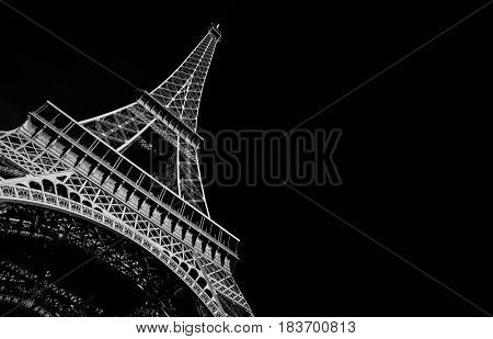 Black and white of the Eiffel tour in Paris France