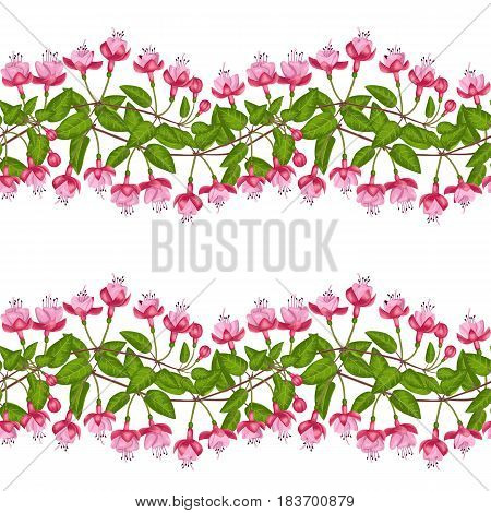 Pink fuchsia seamless pattern on white background. Template for postcards, greeting cards, wedding invitations. Vintage floral striped wallpaper.