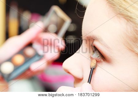 Close Up Woman Getting Make Up, Eyeshadow