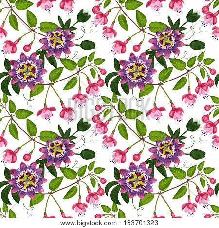 Pink fuchsia and passiflora seamless pattern on white. Background for postcards, greeting cards, wedding invitations. Romantic floral wallpaper.