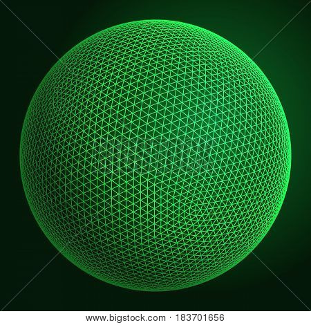 Abstract wireframe sphere. Vector technology background. Connection design template.