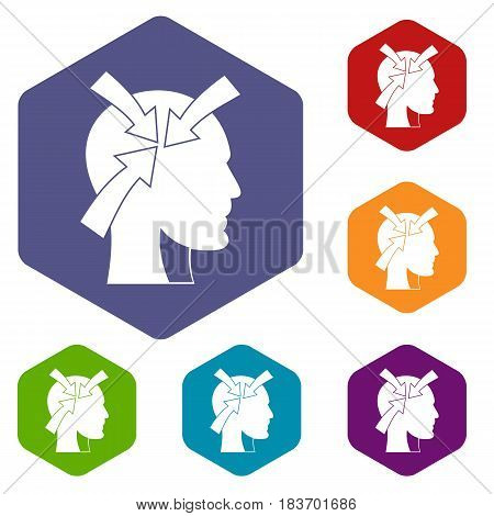 Head with arrows icons set hexagon isolated vector illustration