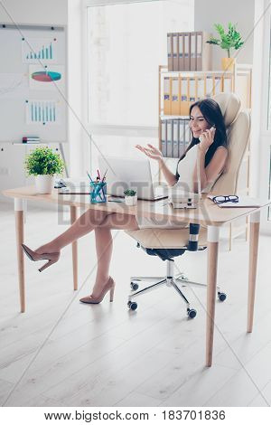 Full Size Portrait Of Young Successful Business Lady Talking On Her Smartphone With Friends At Free