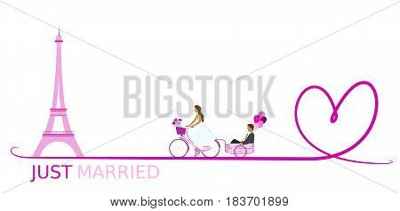 Just married - wedding. Bridal couple with bicycle in Paris and with balloons. Big heart. Pink shade.