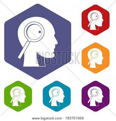 Magnifying glass in head icons set hexagon isolated vector illustration
