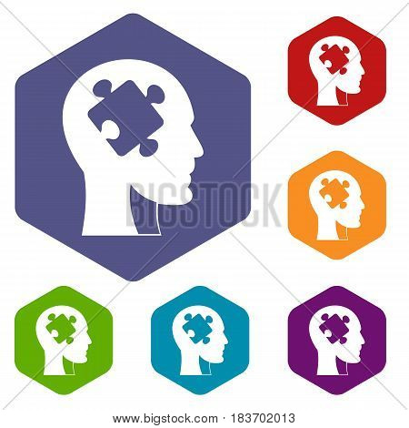 Head with puzzle icons set hexagon isolated vector illustration