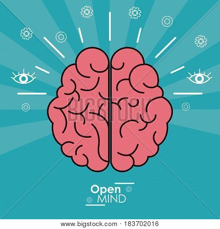 open mind human brain concept design vector illustration
