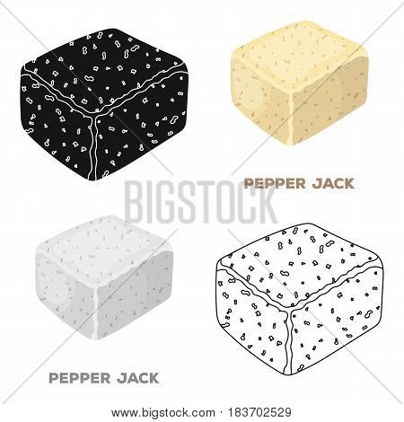 Pepper gack.Different kinds of cheese single icon in cartoon style vector symbol stock illustration .