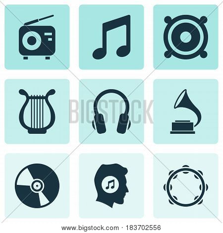 Audio Icons Set. Collection Of Megaphone, Phonograph, Timbrel And Other Elements. Also Includes Symbols Such As Fm, Phonograph, Gramophone.