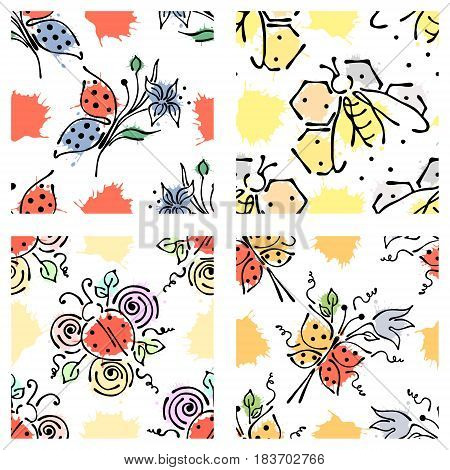 Vector Seamless Floral Pattern With Butterfly, Apis, Ladubug, Splash, Blots, Drop Hand Drawn Contour