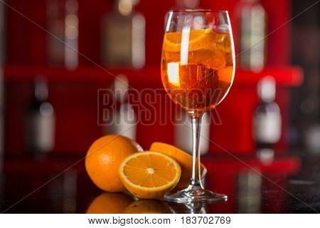 Aperol Spritz Glass On A Blurred Bar