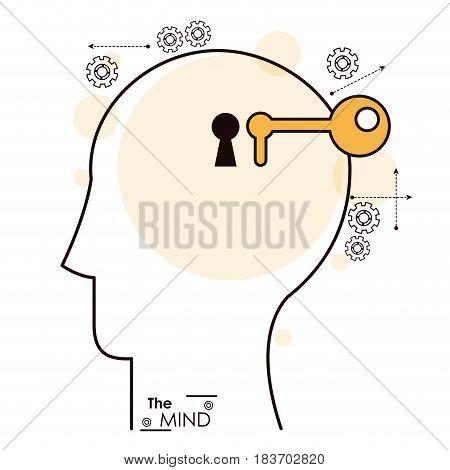 the mind human head key hole gear vector illustration