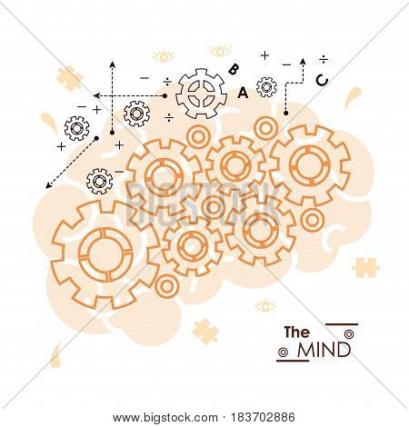 the mind gears collaboration team work mechanic function vector illustration