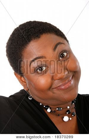 Young Woman Giving Funny Face on Isolated Background
