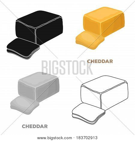 Cheddar.Different kinds of cheese single icon in cartoon style vector symbol stock illustration .