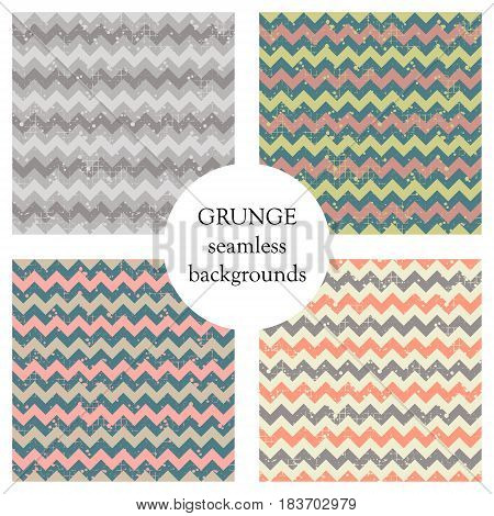 Set Of Seamless Vector Patterns. Geometric Striped Backgrounds With Crancle. Grunge Texture With Att