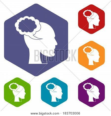 Speech bubble with human head icons set hexagon isolated vector illustration