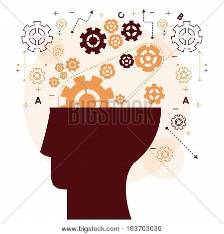 human head mind gear memory mentality work vector illustration