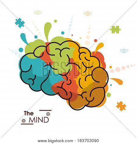 the mind colo brain creativity invention design vector illustration