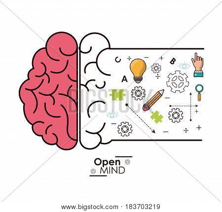 open mind brain intelligence genius idea innovation vector illustration