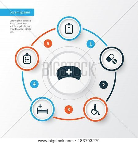 Drug Icons Set. Collection Of Handicapped, Analyzes, Polyclinic Elements. Also Includes Symbols Such As Wheelchair, Record, Analyzes.