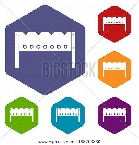 Brazier icons set hexagon isolated vector illustration