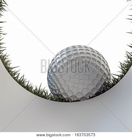 3d illustration of a golf ball approaching hole isolated on white background