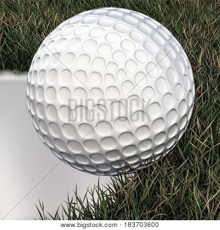 3d illustration of a golf ball approaching hole