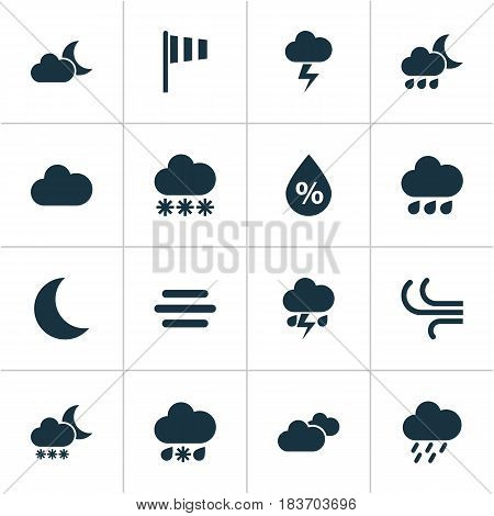 Weather Icons Set. Collection Of Night, Flash, Nightly And Other Elements. Also Includes Symbols Such As Outbreak, Light, Humidity.