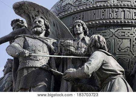 VELIKIY NOVGOROD, RUSSIA - APRIL 24, 2015: Beginning of the Romanov dynasty. Fragment of the monument