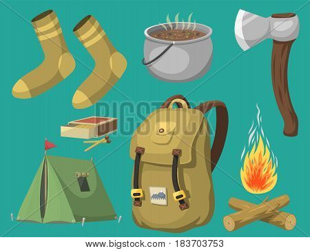Hiking icon camping equipment base camp gear and accessories hike outdoor elements cartoon journey vacation travel vector illustration. Trekking outing summertime leisure recreation.