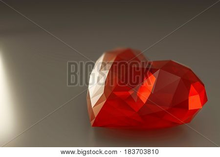 3d illustration of a heart stone on a white plane