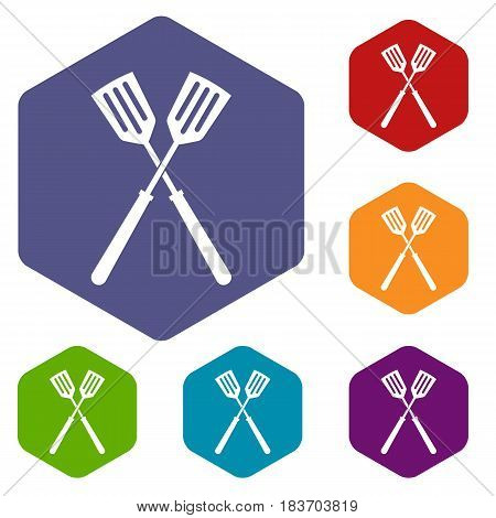Two metal spatulas icons set hexagon isolated vector illustration