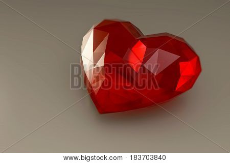 3d illustration of a heart stone isolated