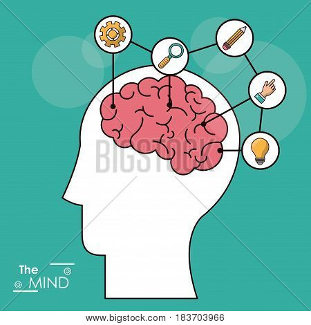 the mind head brain creativity solution knowledge think vector illustration
