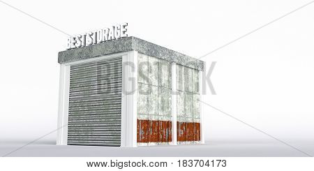 3d illustration of a self storage unit isolated on white background