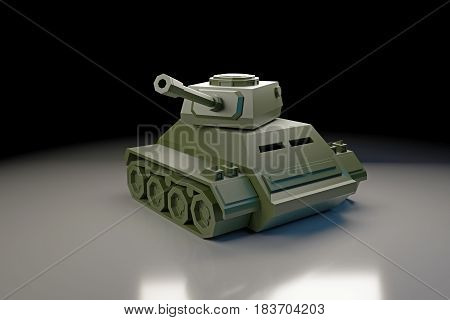 3d illustration of a tank toy isolated