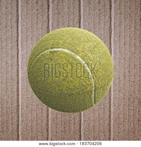 3d illustration of a tennis ball on cardboard paper