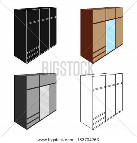 A large bedroom wardrobe with mirrow and lots of drawers and cells.Bedroom furniture single icon in cartoon style vector symbol stock web illustration.