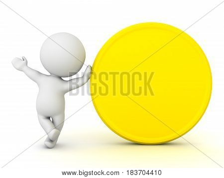 3D Character Leaning On Gold Coin