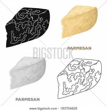 Parmesan.Different kinds of cheese single icon in cartoon style vector symbol stock illustration .