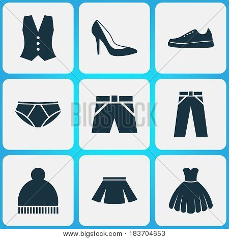 Garment Icons Set. Collection Of Waistcoat, Beanie, Pants And Other Elements. Also Includes Symbols Such As Shorts, Skirt, Leggings.
