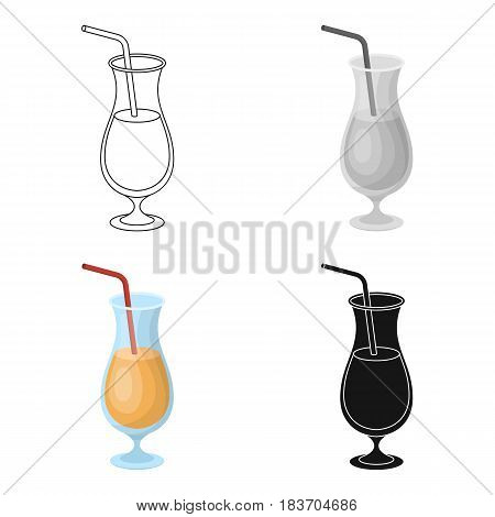 A cocktail in a glass with a straw. Drink for playing in the casino.Kasino single icon in cartoon style vector symbol stock web illustration.